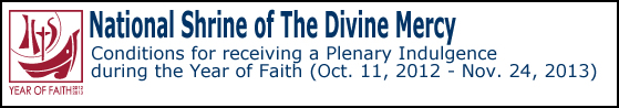 National Shrine of The Divine Mercy: Conditions for receiving a Plenary Indulgence during the Year of Faith (Oct. 11, 2012 - Nove. 24, 2013)